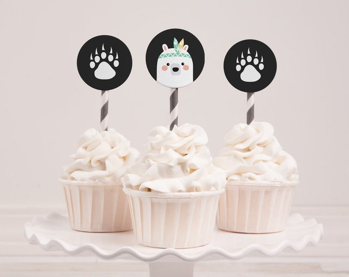 Tribal Bear Cupcake Toppers / DIY birthday party printables / Instant download / man cub boys birthday party / grizzly round cupcake toppers