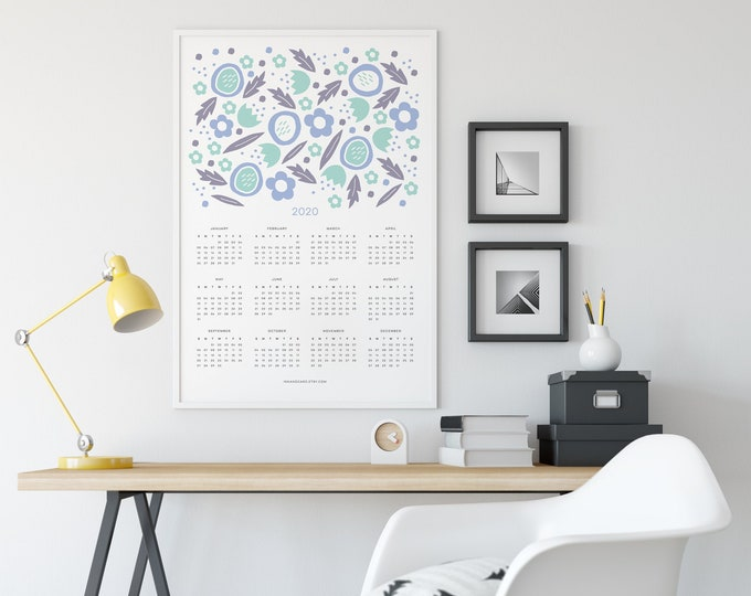 2020 Teal Floral Calendar