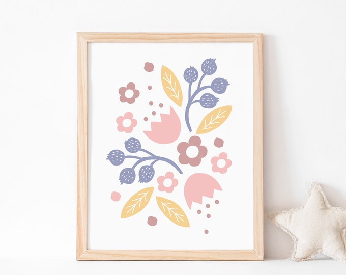 Pink, yellow and purple flowers art print 1