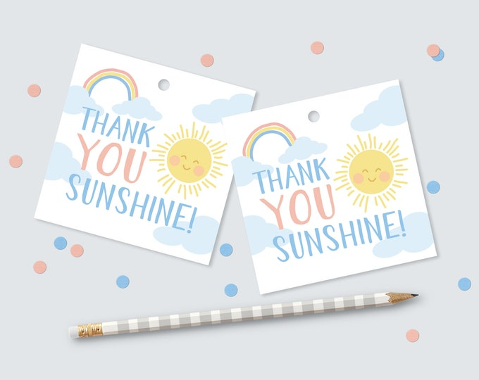 Sunshine and Rainbow Favour (Favor) Tags