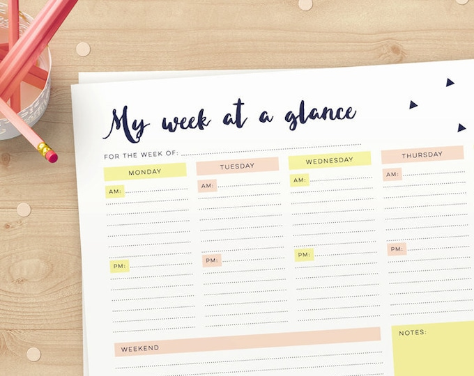 Instant download - Modern Weekly Planner pages for you to print yourself // Week at a glance organiser / organizer Monday to Sunday and note