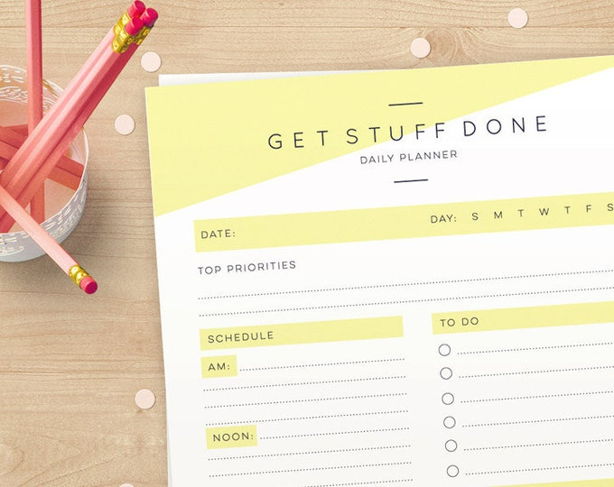 Stylish Printable Planner in A4 and US Letter // printable daily planner pages download // Daily Organizer for you to Print again and again!