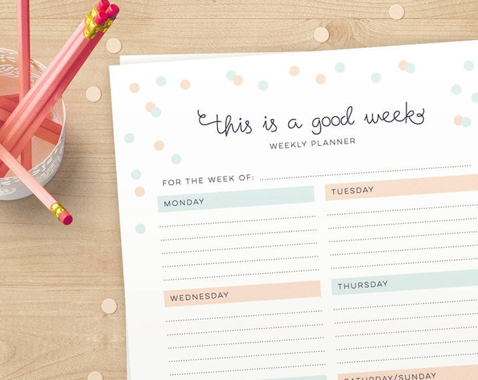 Cute Weekly downloadable Planner pages in A4 and US Letter // Instant download // weekly organiser/organizer pages for you to print!