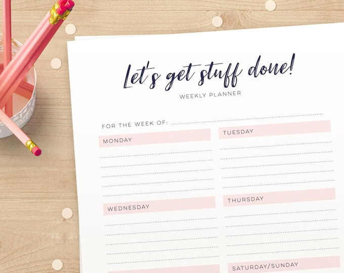 Pink Weekly Planner pages, Week at a glance printable weekly planner in A4 & US Letter jpg and pdf / Instant download Lets get stuff done!