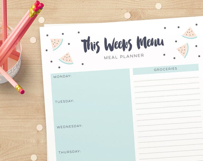 Watermelon Printable Grocery list and meal planner in A4 and US Letter / Instant download meal planner // Weekly Organizer for you to Print!
