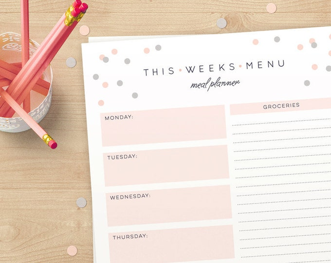 Weekly Meal Planner and grocery list in A4 and US Letter // Instant download // Weekly Organizer for you to Print again and again!