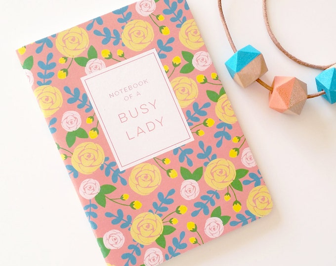 Notes of a busy lady floral 28 page notebook