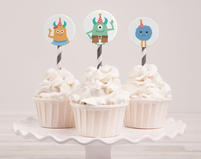 Monster Cupcake toppers (INSTANT DOWNLOAD)