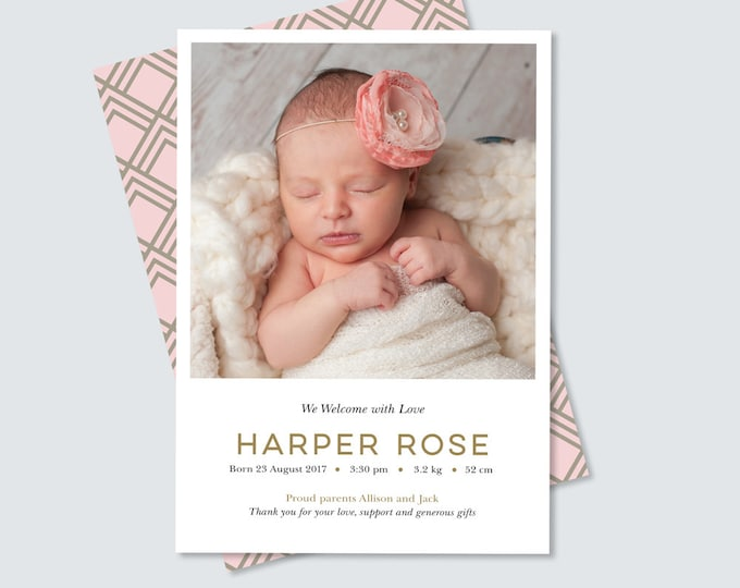 Girls newborn Birth announcement card, art deco back in pink and gold, simple, clean and modern design, print yourself! Photo card