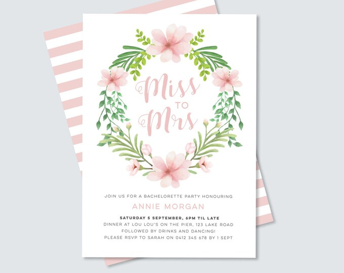 Pretty Floral Bachelorette party Invitation // Miss to Mrs Hens night party for bride to be // Feminine Invitation for Bridal Shower Party