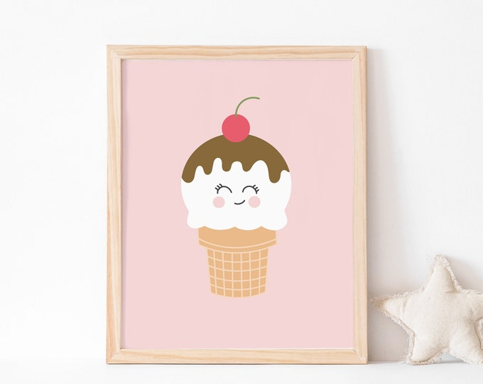 Ice Cream With Cherry Art Print