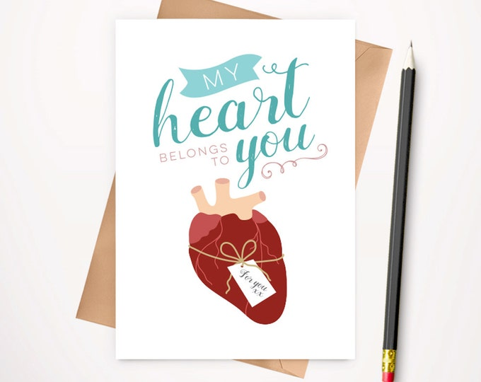 Anatomical heart Valentines day card with envelope
