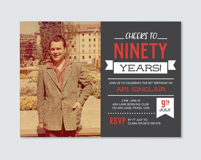 Cheers to 90 years! Mens 90th Birthday Invitation - for any age! Ninety Birthday Invite // Vintage Chalkboard style. Invitation for Men.