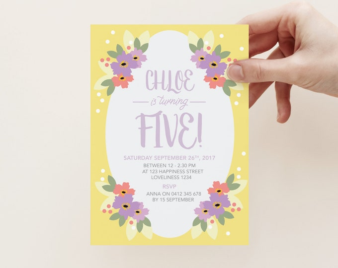 Girl's Yellow floral birthday invitation, double sided, yellow and purple floral, bright, fun and colourful, 1st, 2nd, 3rd, 4th, 5th party