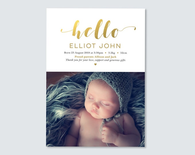 Baby Boy Birth Announcement in Gold Foil - Digital File / Gold, Hello Birth Announcement Thank You Card with photo / Newborn thank you card