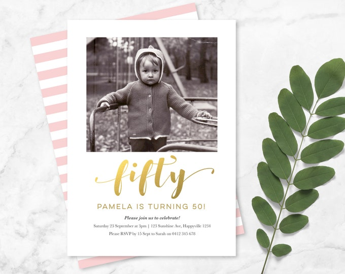 Gold and pink 50th Birthday Invitation! Modern and elegant fiftieth birthday Invitation with photo / womens 60th 70th 80th 90th Party Invite