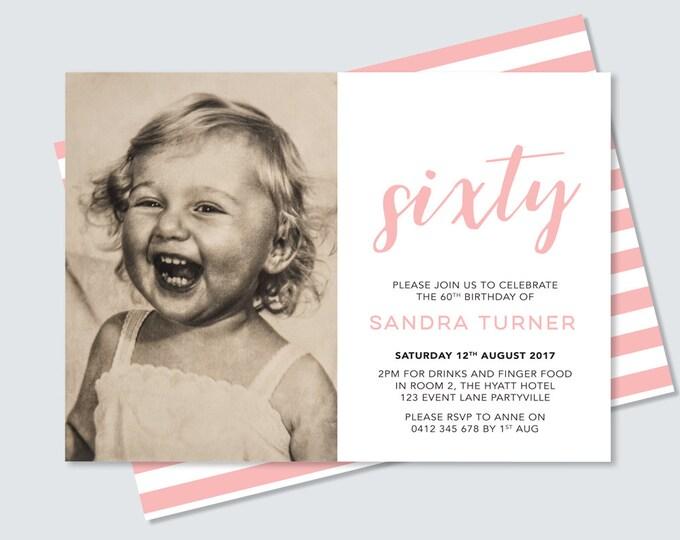 Photo 60th Birthday Invitation card - any age! Sixtieth birthday invitation, double sided invitation to print yourself. 70th, 90th, 80th