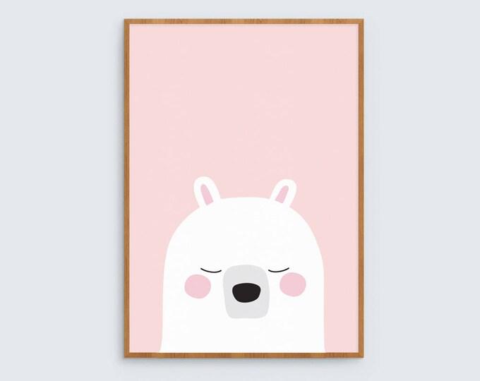 Pink Bear Nursery Print