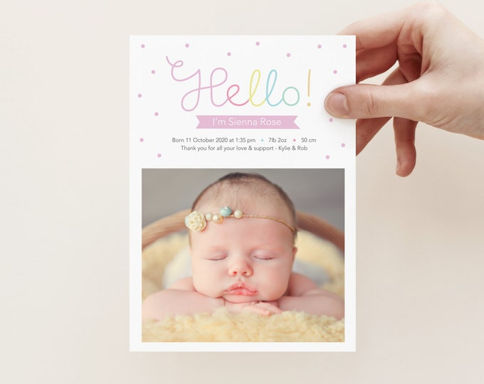 Hello girl's birth announcement / colourful and cute modern birth announcement card / baby girl birth card / photo birth announcement