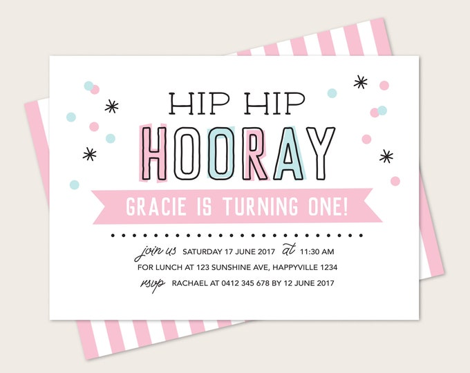 Girl's birthday Invitation card / print yourself! Hip hip hooray confetti Kid's birthday invitation card / girl's 1st birthday party invite