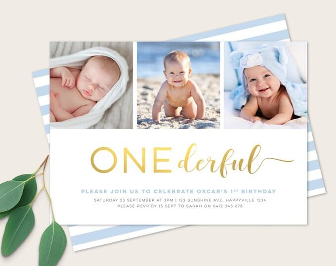 Boys Onederful Birthday Invitation