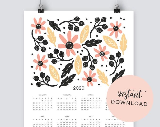 Instant Download - Illustrated Botanical 2020 Calendar