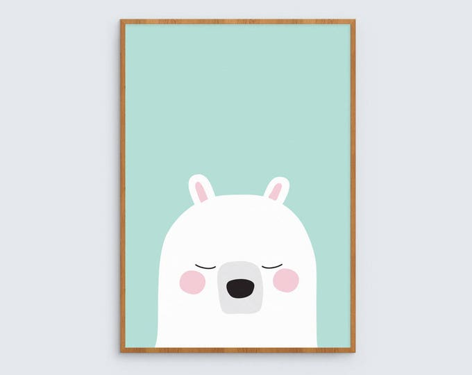 Bear Art Print (teal)
