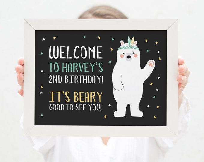 Tribal Bear Welcome Sign / Boy's Birthday Party Sign / Woodland Bear Party Printables / Kids Party Sign / Man Cub Birthday Party / Printable