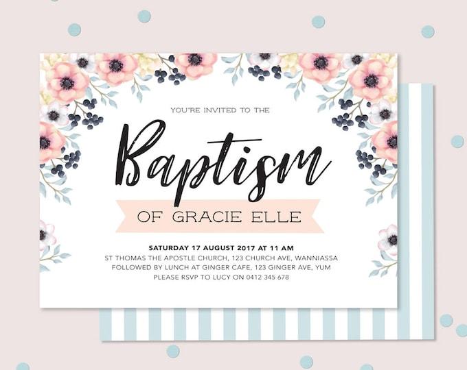 Girl's Floral Baptism or Christening invitation (Digital File)