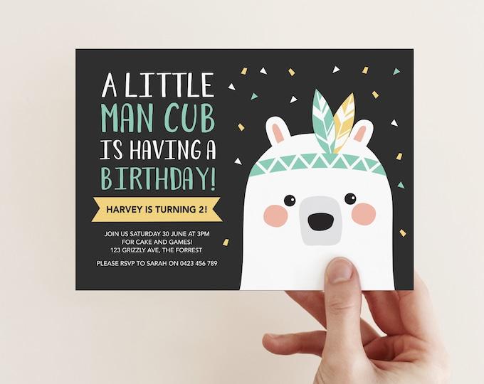Bear Cub Birthday Invitation / Wild one Party Invitation / Man Cub 2nd Birthday / woodland invitation boys tribal birthday party invitation