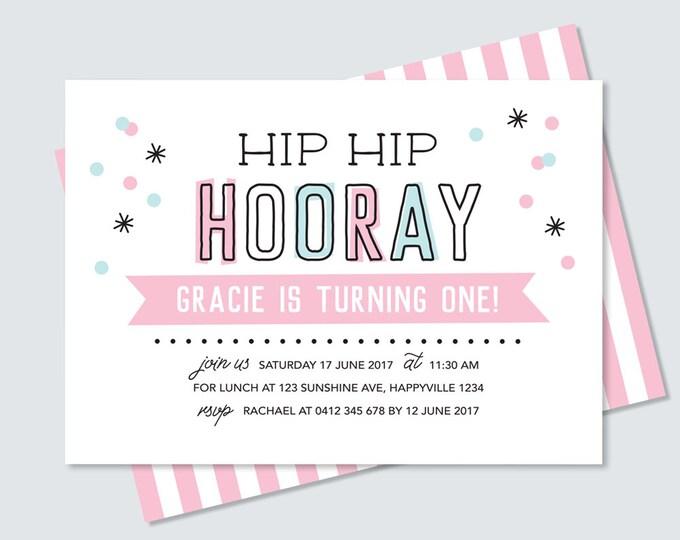 Girl's birthday Invitation card / print yourself! Hip hip hooray confetti Kid's birthday invitation card / girl's 1st birthday party invite
