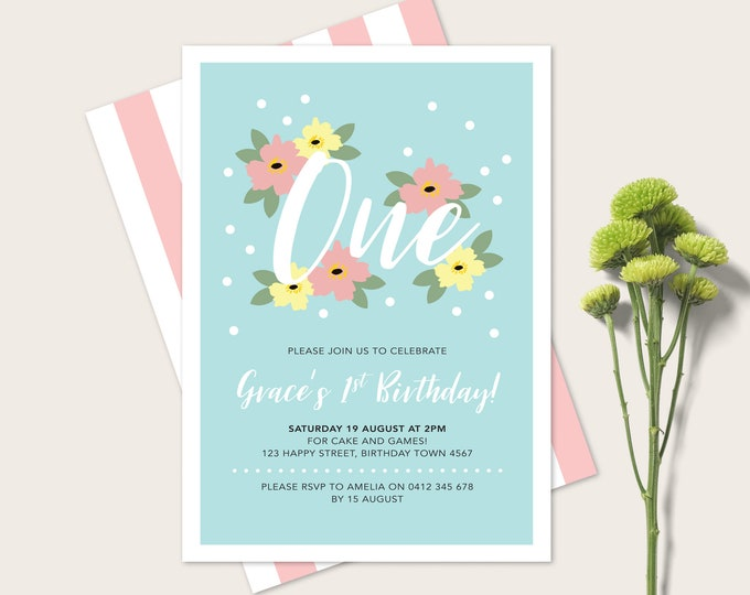 Girl's 1st Birthday Invitation / Floral First Birthday Invitation / Pretty Pastel Flowers / 1st Birthday Printable / first Birthday Party