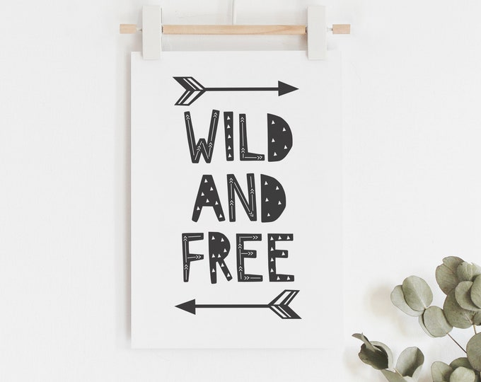 Wild and free art print // monochrome tribal arrows themed kids art print // monochrome boys wall art // wild one boys art print
