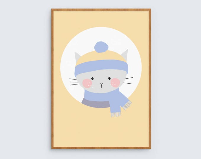 Winter kitty Art Print