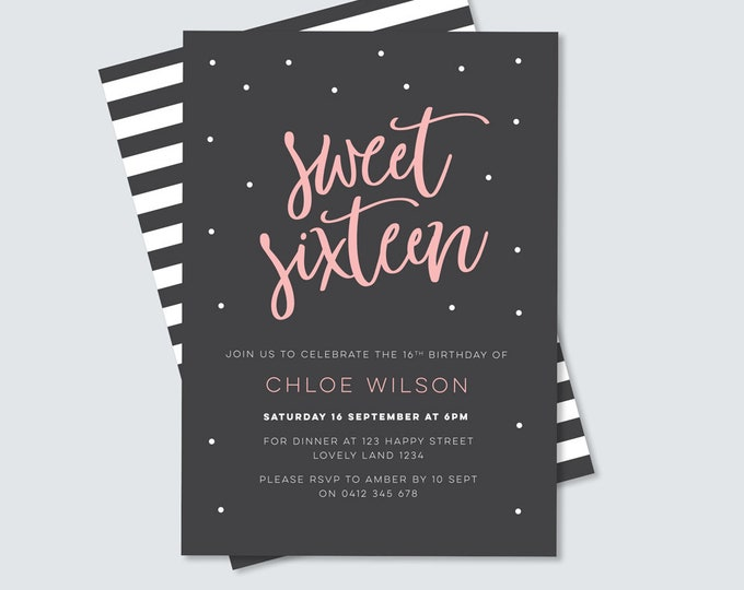 Sweet sixteen birthday party invitation, digital file for you to print yourself! 16th birthday party. Stylish pink and black design.