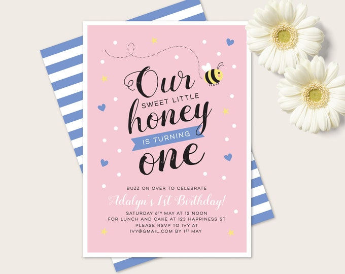 Girls Bumble Bee 1st birthday invitation - for any age! (digital file)