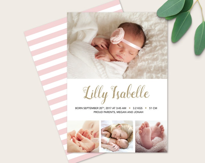 Baby Girl Birth Announcement (Digital File) - I customise for you to print. Gold and white, Multiple photo card. Girls Modern birth card
