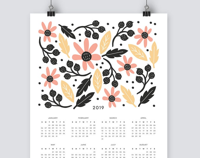 2019 Illustrated, Botanical Calendar