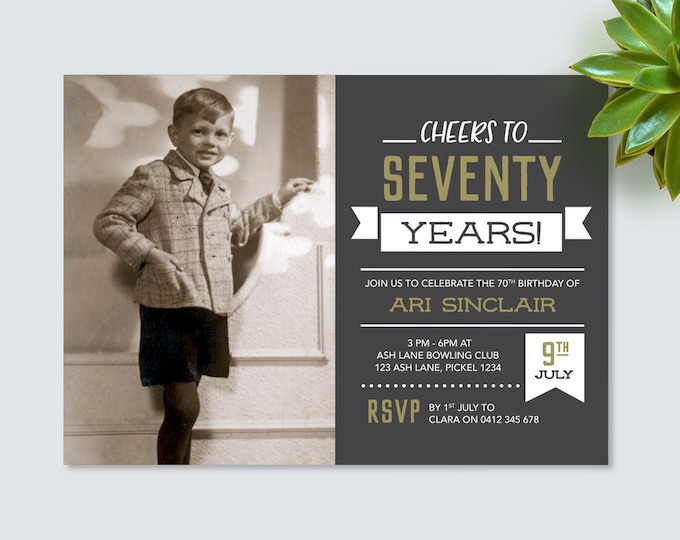 Cheers to 70 years! Mens 70th Birthday Invitation - for any age! seventy Birthday Invite // Vintage Chalkboard style. Invitation for Men.