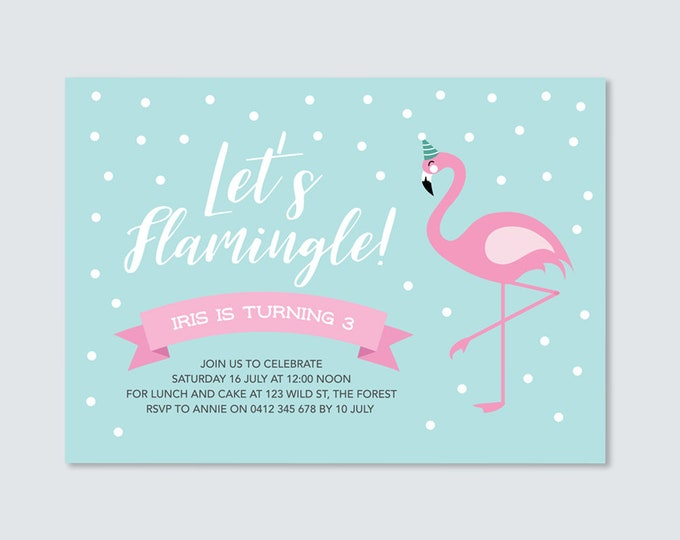 Pink Flamingo Birthday Party Invitation card to print yourself // Let's Flamingle! Cute, double sided invitation in teal and pink