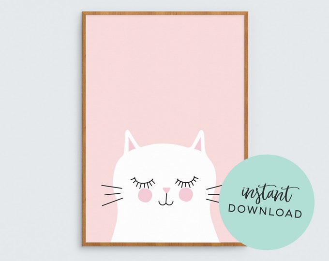 Pink Kitty Art Print (INSTANT DOWNLOAD)