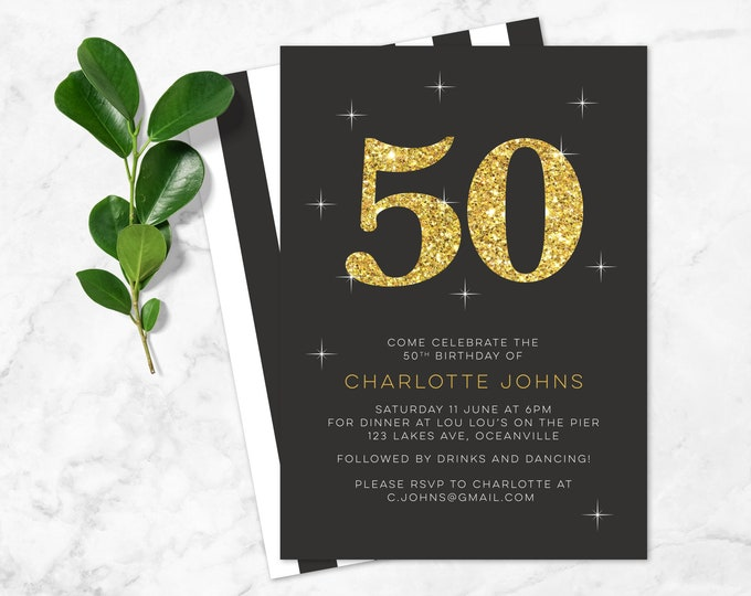 Glitter 50th Birthday Invitation - Any age! (Digital File), 50th birthday, 60th, 70th, 40th - Glitz and glamour, Classic and sophisticated!