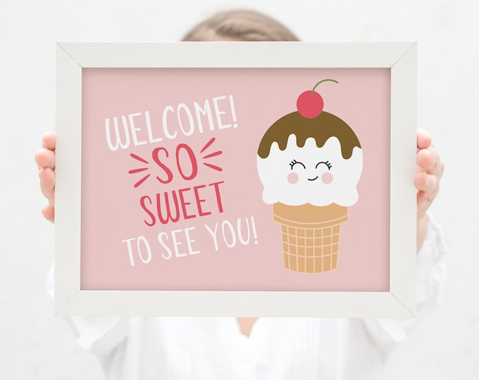 Ice Cream Birthday Welcome Sign / So sweet Birthday Party / Kid's Party Welcome Sign / 1st Birthday Welcome Sign / Here's the Scoop Party