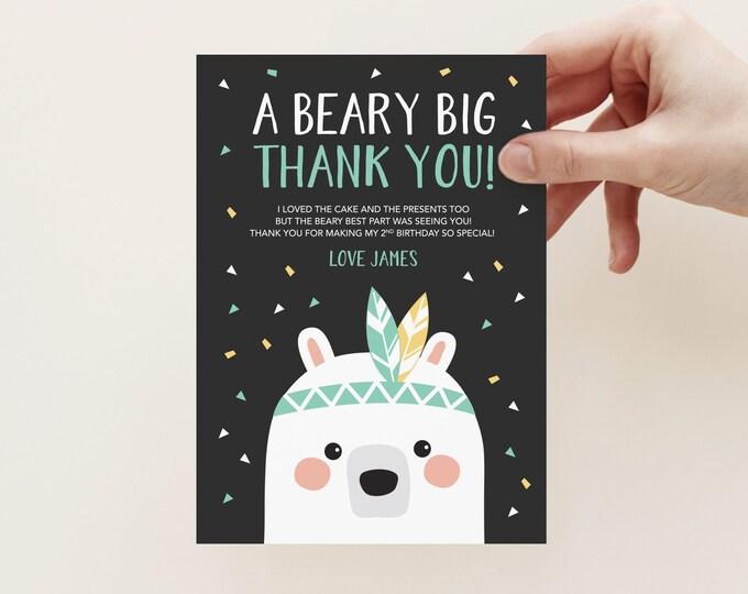 Bear Thank You Card / Kid's birthday Thank You / Woodland Party Printables / Tribal Bear Birthday Party / Boys Birthday Thank You Card