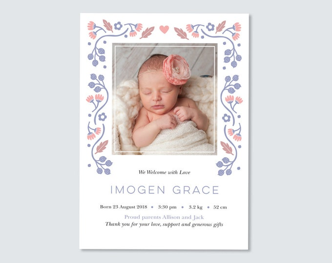 Floral Birth Announcement / Girl's Folk Art Birth Announcement / Thank you card / Printable Birth Announcement / Pretty Photo Birth card