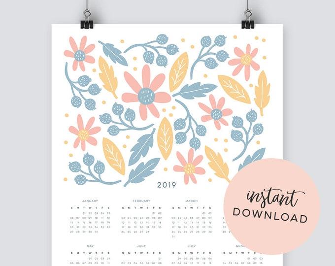 Illustrated Botanical 2019 Calendar - INSTANT DOWNLOAD