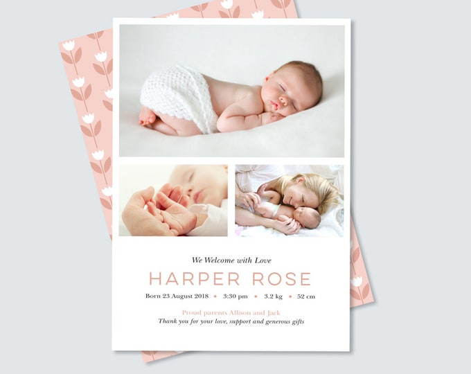 Newborn Announcement Card / Girl's Floral Birth Announcement / Double Sided photo Card / Baby Girl Thank You Card / Bright and Colourful!