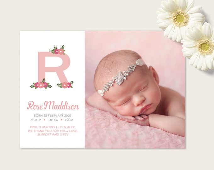 Floral monogram Baby Girl Birth Announcement (Digital File)