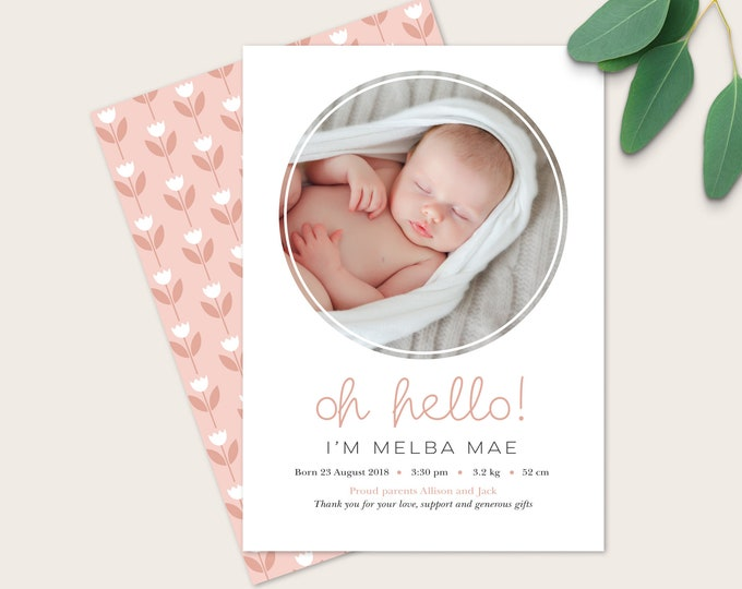 Girl's Hello Birth Announcement / Double sided announcement digital file / Newborn thank you card / Photo Birth Announcement / Modern Design