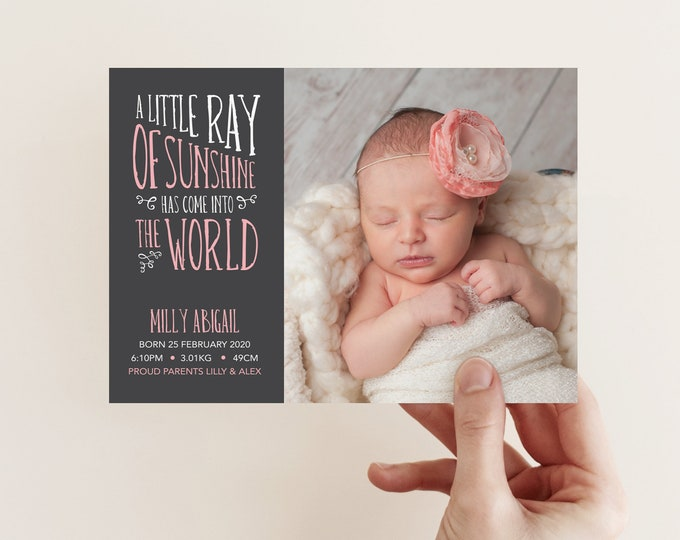 Little Ray of Sunshine Birth Announcement in Pink (Digital File)